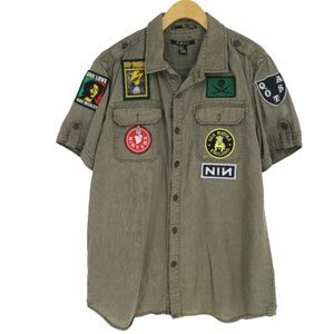 21men Army Green Button Up with Punk DIY patches